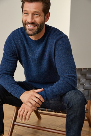 Navy Signature Lambswool Crew Jumper