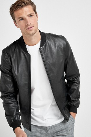 Black Signature Leather Bomber Jacket