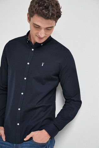 Navy Regular Fit Long Sleeve Stretch Oxford Shirt