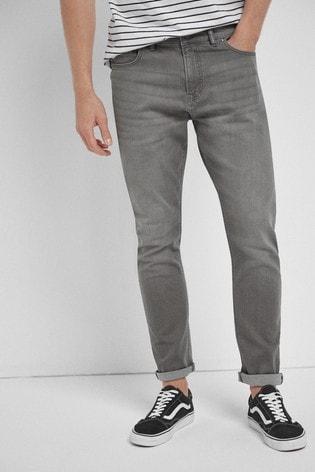 Grey Slim Fit Slim Fit Jeans With Stretch