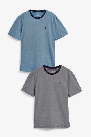 Blue/Grey Fine Stripe T-Shirts Two Pack