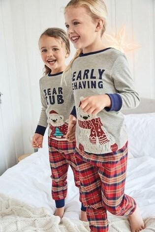 Bearly Behaving Kids Matching Family Check Pyjamas (3-16yrs)