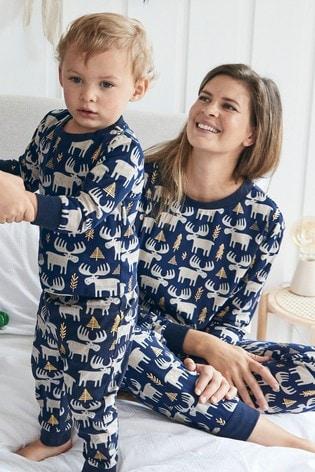 Navy Matching Family Womens Christmas Moose Pyjamas