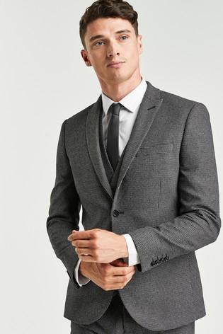 Grey Skinny Fit Textured Suit: Jacket