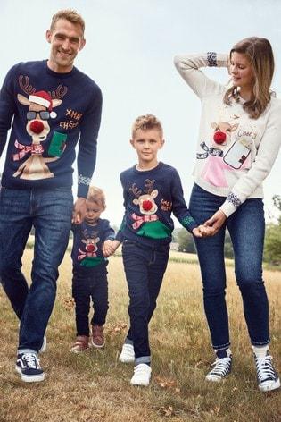 Oatmeal Matching Family Womens Christmas Reindeer Jumper