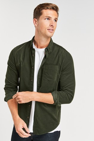Khaki Regular Fit Long Sleeve Cord Shirt