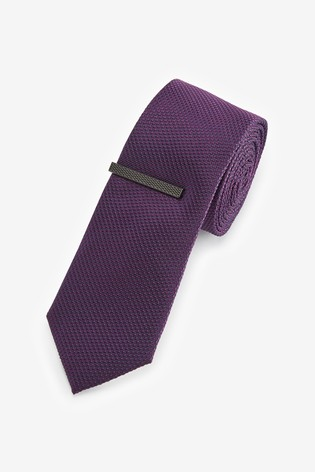 Purple Textured Tie With Tie Clip