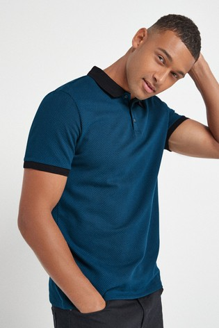 Teal Regular Fit Texture Polo
