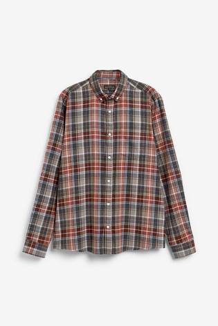 Grey/Brown Slim Fit Brushed Flannel Check Long Sleeve Shirt