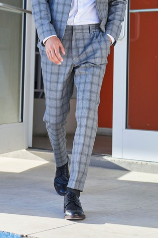 Grey Trousers Check Motion Flex Slim Fit Suit