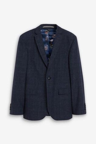 Blue Linen Jacket Slim Fit Signature Check Suit: Jacket