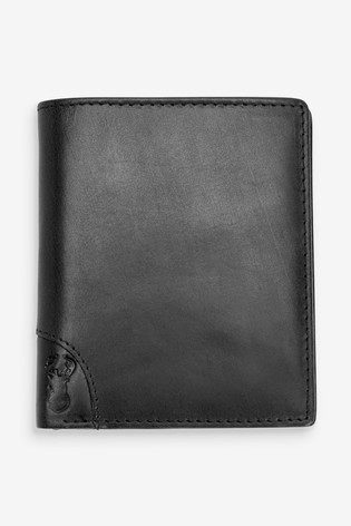 Black Leather Bifold Wallet With Embossed Stag