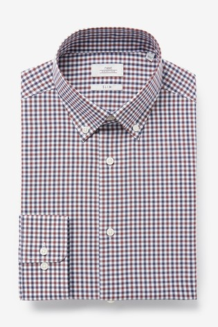 Rust/Navy Slim Fit Single Cuff Easy Iron Button Down Oxford Shirt