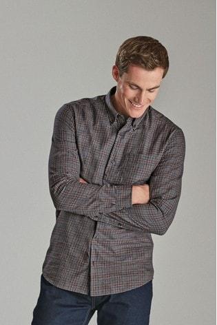 Navy Slim Fit Check Brushed Long Sleeve Shirt