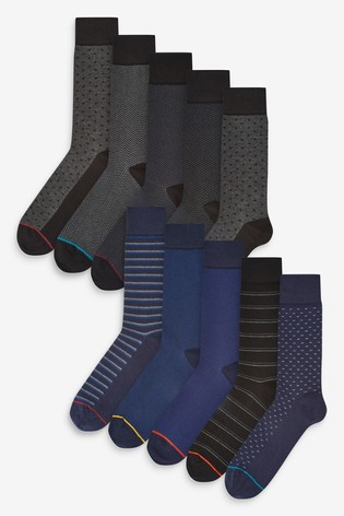 Black/Navy Formal Pattern Socks Ten Pack