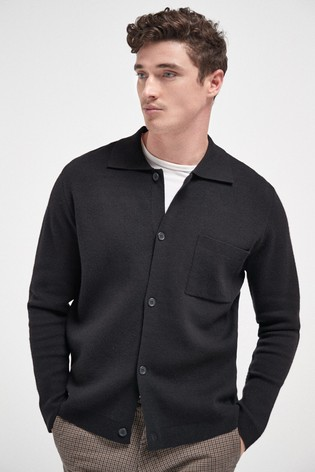 Black Knitted Button Through Polo