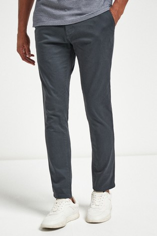 Charcoal Skinny Fit Stretch Chinos