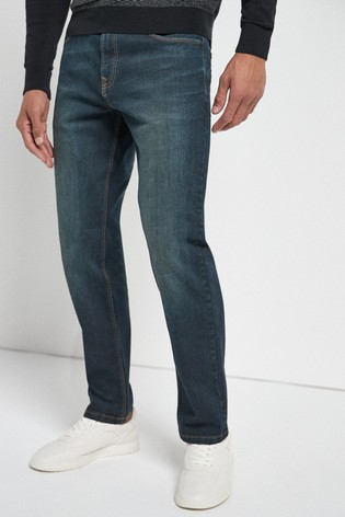 Dark Tint Straight Fit Jeans With Stretch