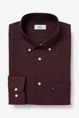 Burgundy Slim Fit Single Cuff Easy Iron Button Down Oxford Shirt