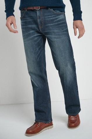 Mid Blue Wash Bootcut Fit Belted Jeans With Stretch