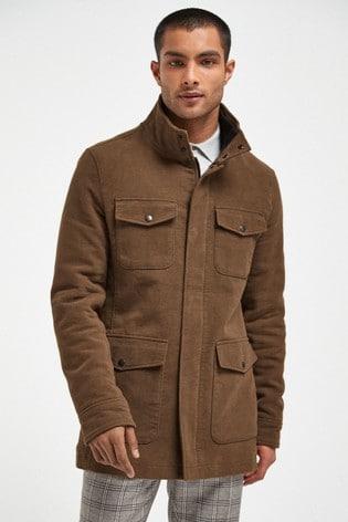 Tan Moleskin Four Pocket Coat