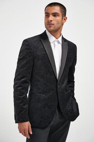Black Slim Fit Printed Velvet Jacket