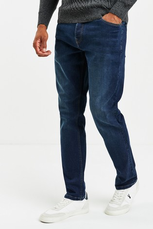Mid Blue With Button Fly Slim Fit Jeans With Stretch