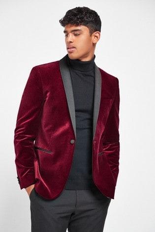 Red Slim Fit Velvet Blazer