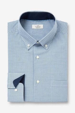 Grey Regular Fit Single Cuff Check Regular Fit Shirt