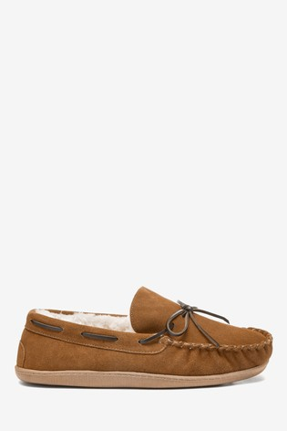 Tan Signature Suede Lace Moccasin Slippers