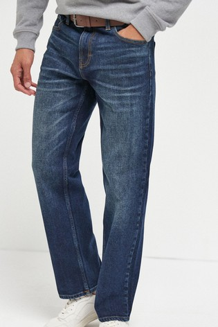 Mid Blue Wash Loose Fit Belted Jeans With Stretch