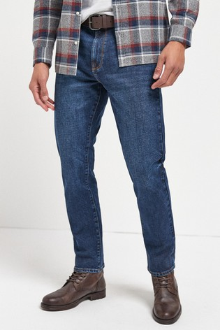 Deep Blue Wash Slim Fit Belted Jeans With Stretch