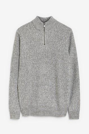 Grey Twist Zip Neck Jumper