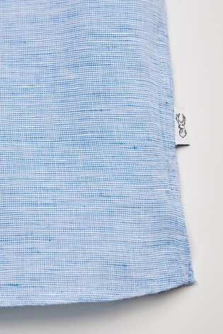 Blue Grandad Collar Regular Fit Linen Blend Short Sleeve Shirt