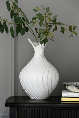 Large Pleated Ceramic Vase