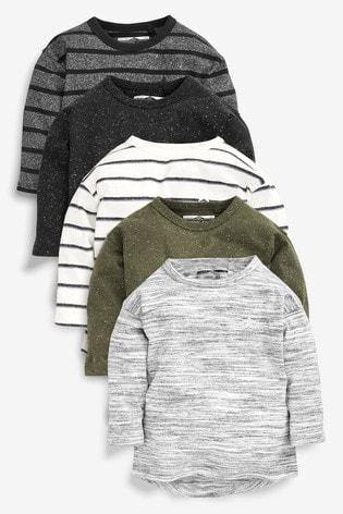 Khaki 5 Pack Long Sleeve T-Shirts (3mths-7yrs)
