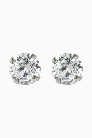 Sterling Silver Cubic Zirconia Large Stud Earrings