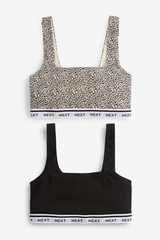 Black/Animal Print Daisy Square Neck Logo Crop Tops Two Pack