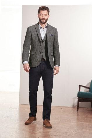 Grey Tailored Fit Nova Fides Signature Herringbone Blazer