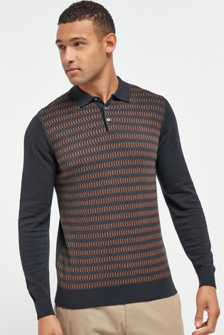Navy/Tan Check Large Check Zip Premium Polo