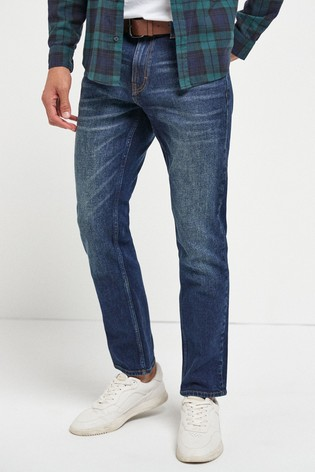 Mid Blue Wash Slim Fit Belted Jeans With Stretch