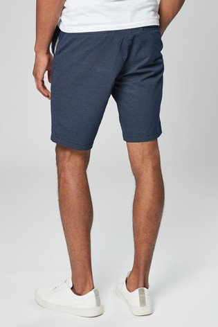 Navy Straight Fit Ditsy Print Belted Chino Shorts