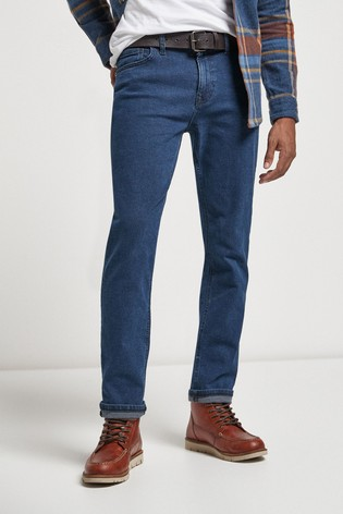 Blue Slim Fit Belted Jeans With Stretch