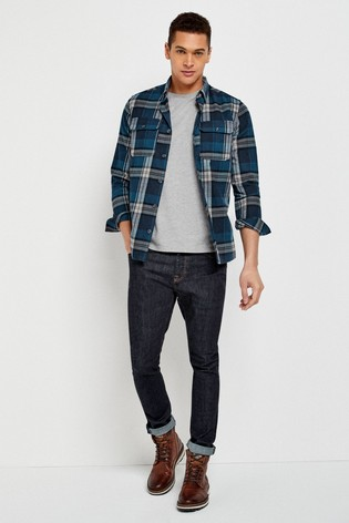 Blue/White Regular Fit Brushed Flannel Check Long Sleeve Shirt