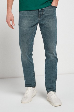 Green Tint Slim Fit Jeans With Stretch