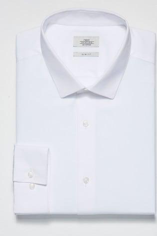 White Slim Fit Single Cuff Cotton Shirt