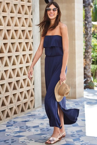 Navy Boobtube Maxi Dress