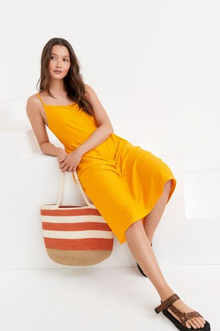 Mango Square Neck Jersey Dress