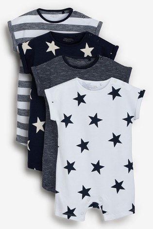 Navy Star and Stripe 4 Pack Printed Rompers (0mths-3yrs)