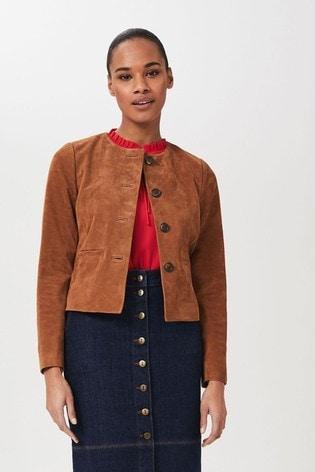 Hobbs Brown Mariette Suede Jacket